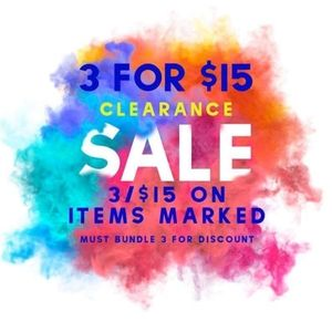 ⚠️3/$15⚠️ Clearance Sale on Items Marked